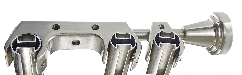 Innenlauf Edelstahl Look Gardinenstange 20mm Wandträger 3-läufig 3-läufig 3-läufig mit Zylinder H60 E34E30 II+ 1x B20I, Länge 400 cm 528c5d
