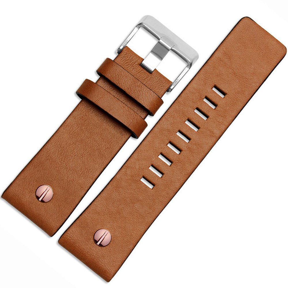 MSTRE NP67 24mm/26mm Calfskin Leather Watch Band Suitable for Men's Diesel Watches (24mm, Brown)