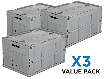 Mount It! Folding Plastic Storage Crate, PACK OF 3, Collapsible Utility  Distribution