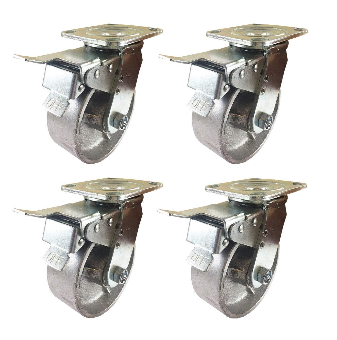4 Heavy Duty Caster Set 5'' 6'' 8'' All Steel Wheels Rigid & Total Lock Brake (5'': 4STL)