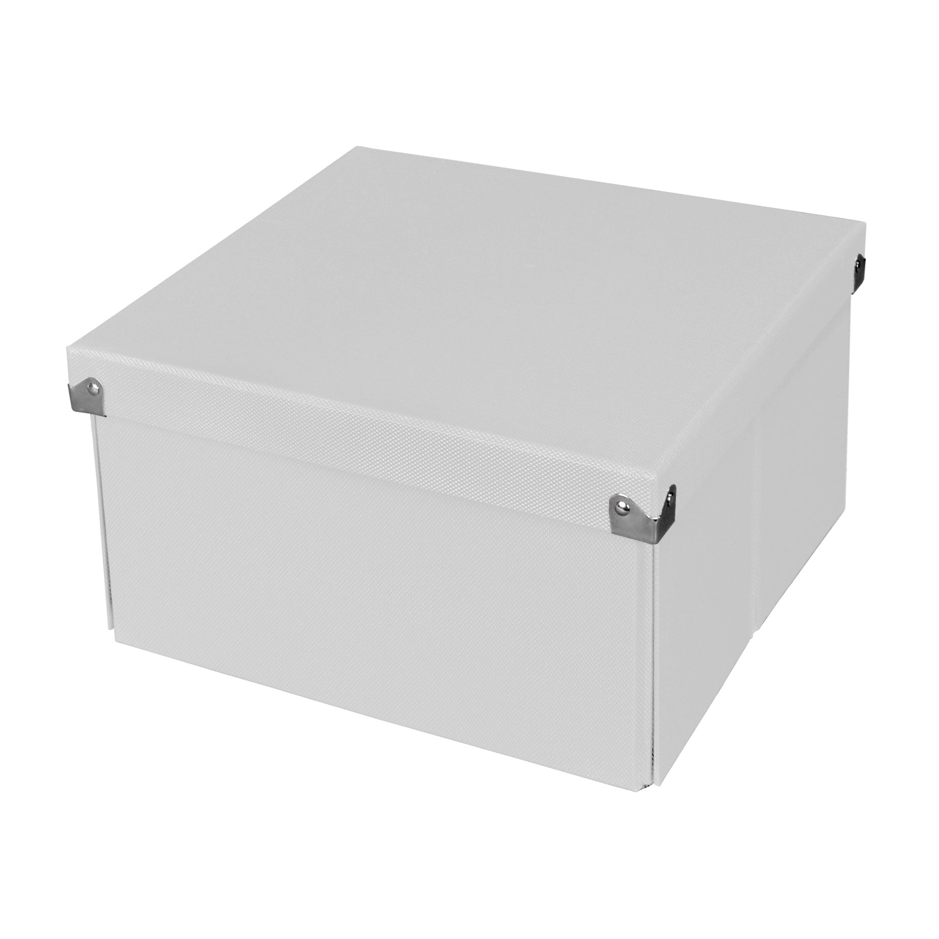 Pop n' Store Decorative Storage Box with Lid - Collapsible and Stackable- Medium Square Box - White - Interior Size (9.75''x9.75''x5.75'')