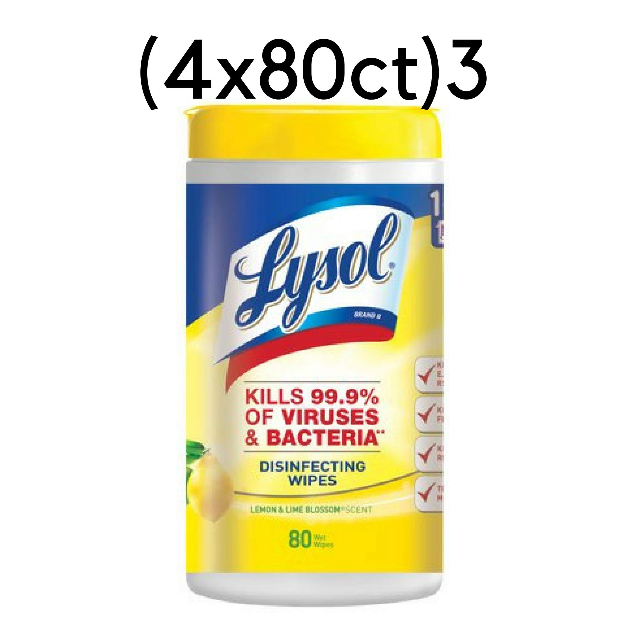 Lysol - Disinfecting Wipes - 4x80ct - Lemon & Lime Blossom - Disinfectant - Cleaning - Sanitizing (3 Pack(320 Wipes))