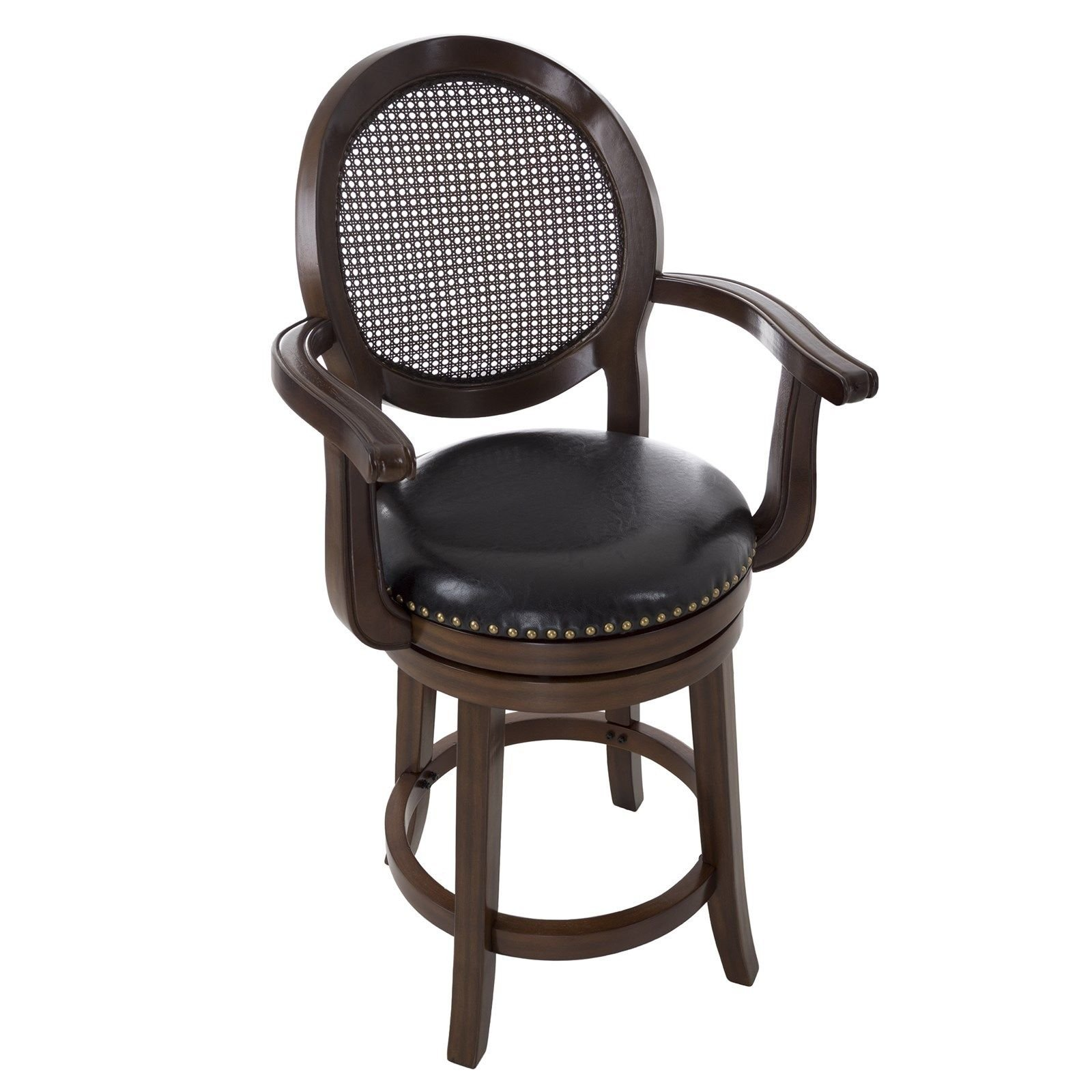 Energi8_5st Professional 26 Inch Seat Wood and Leather Swivel Stool with Back