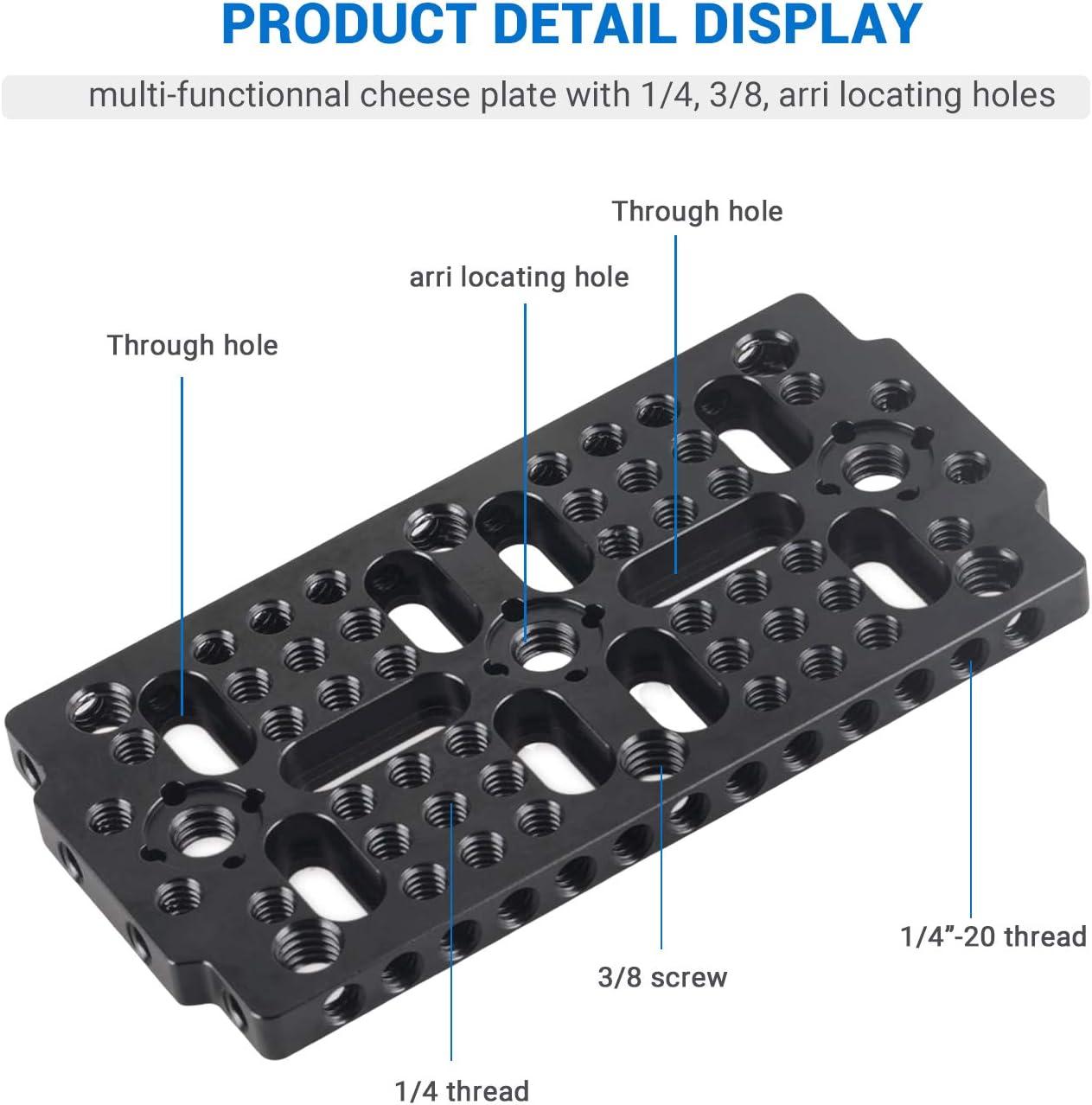 "NICEYRIG Multi-purpose Cheese Plate Baseplate 1//4/"" 3//8 for Camera Cage Railblock"