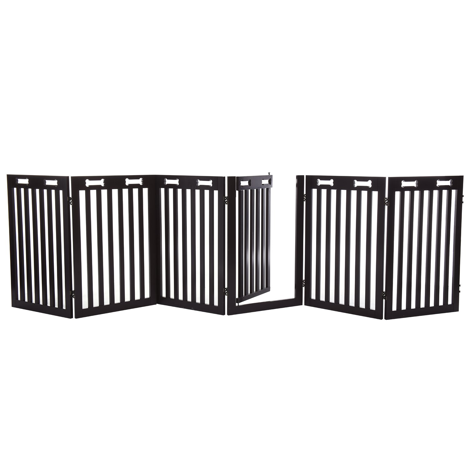 Arf Pets Free Standing Wood Dog Gate with Walk Through Door Expands Up to 80 Wide Bonus Set of Foot Supporters Included 31.5 High