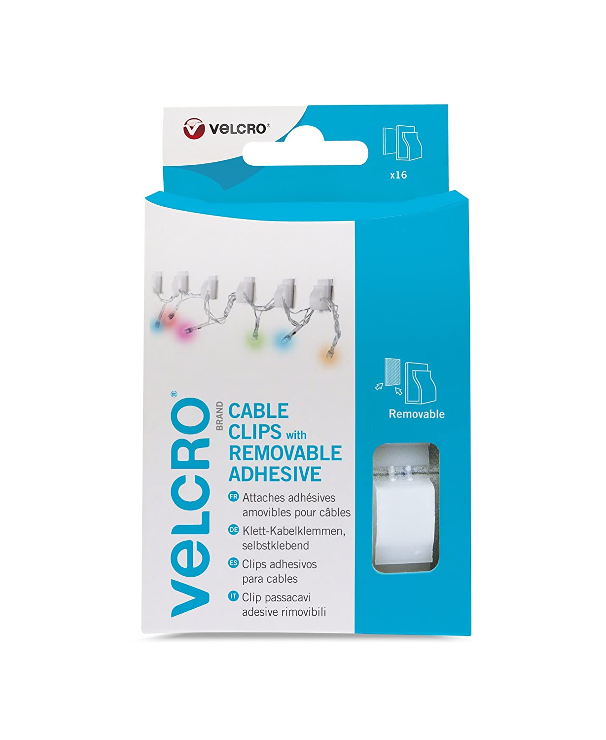 VELCRO Brand Clips with Removable Adhesive, Small - Opaque, Pack of ...