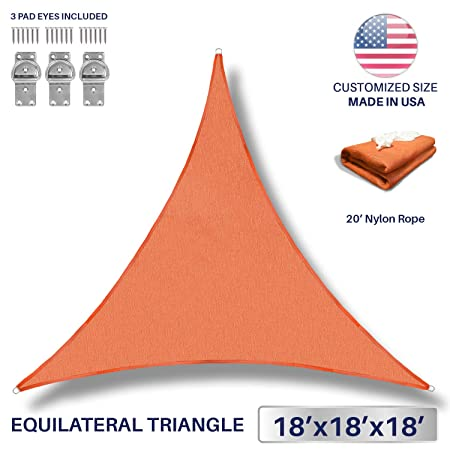 Windscreen4less 18 x 18 x 18 Sun Shade Sail UV Block Fabric Canopy in Orange Triangle for Patio Garden Patio 3 Pad Eyes Included Customized Sizes 3 Year Warranty