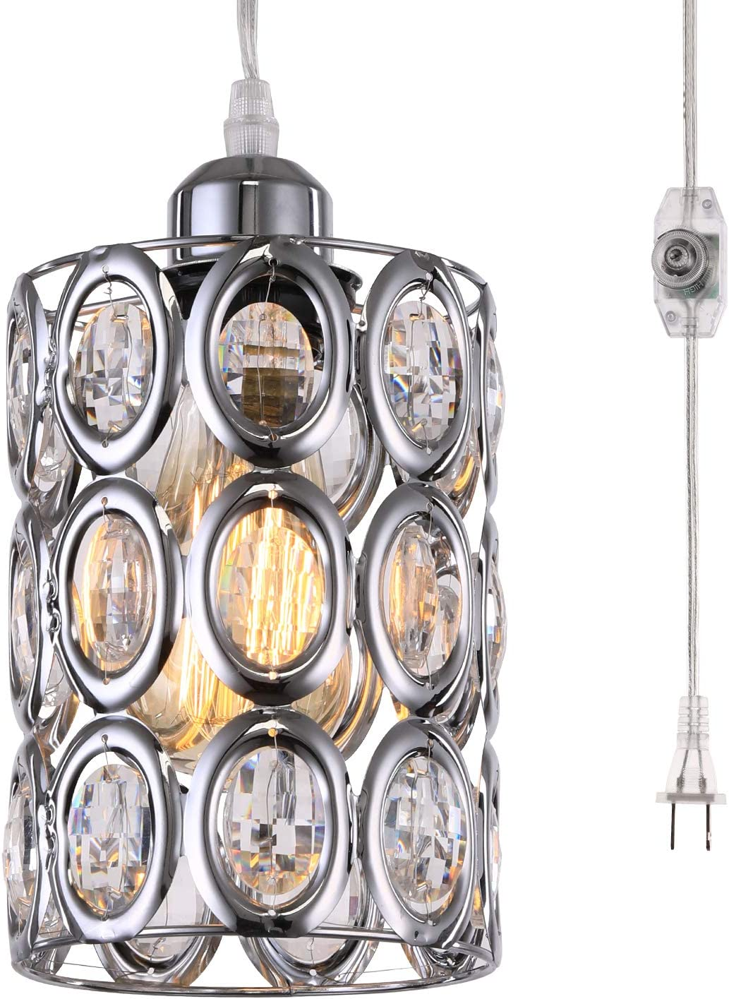 HMVPL Plug in Crystal Pendant Light with ON Off Dimmer Switch and 16.4 ft Clear Hanging Cord, Modern Chrome Cylinder Chandelier Swag Lamp for Kitchen Island Dining Table Bedroom Girls Cabinet Closet