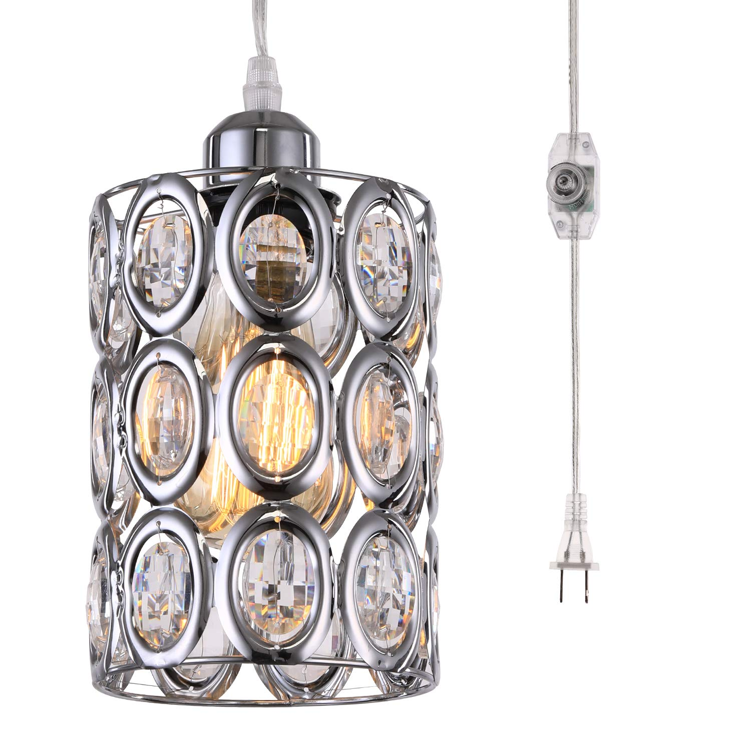 HMVPL Plug in Crystal Pendant Light with ON/Off Dimmer Switch and 16.4 ft Clear Hanging Cord, Modern Chrome Cylinder Chandelier Swag Lamp for Kitchen Island Dining Table Bedroom Girls Cabinet Closet