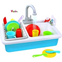 VikriDa Kitchen Sink Kids Toys - Portable Kitchenware and Cooking Accessories for Boys and Girls - Pretend and Role Play Games