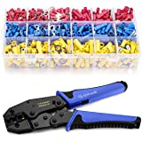 Wire Terminals Crimping Tool, Qibaok Insulated Ratcheting Terminals Crimper Kit of AWG22-10 with 800PCS Insulated Butt Bullet