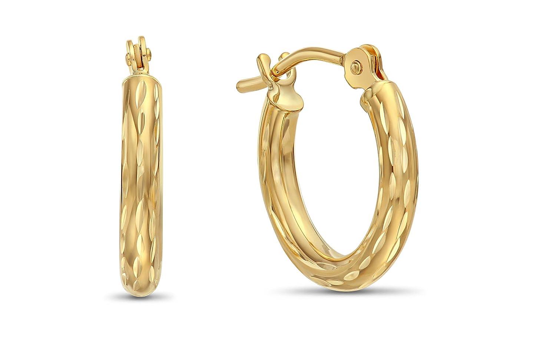 14k Yellow Gold Hand Engraved Full Diamond-cut Round Hoop Earrings