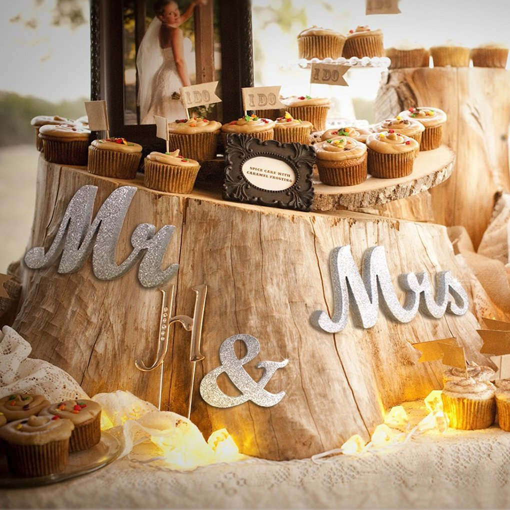 Demino Waterproof Mr and Mrs Sign Sweetheart Wedding Table Decorations Wooden Letters Silver Glitter With Flower Base Decor