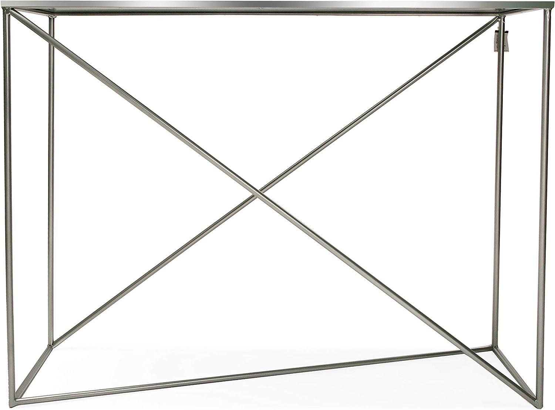 Plateado 80 x 30 x 100 cm Versa 10850099 Mesa de Entrada Erekle Metal y Cristal