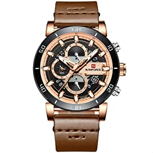 Naviforce 9131 RG-RG-D.BN Leather Round Analog Watch for Men - Brown