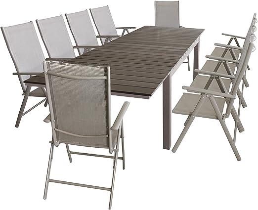 Muebles de Jardín Jardín Mesa Extensible 160/210/260 x 95 cm, estructura de aluminio con