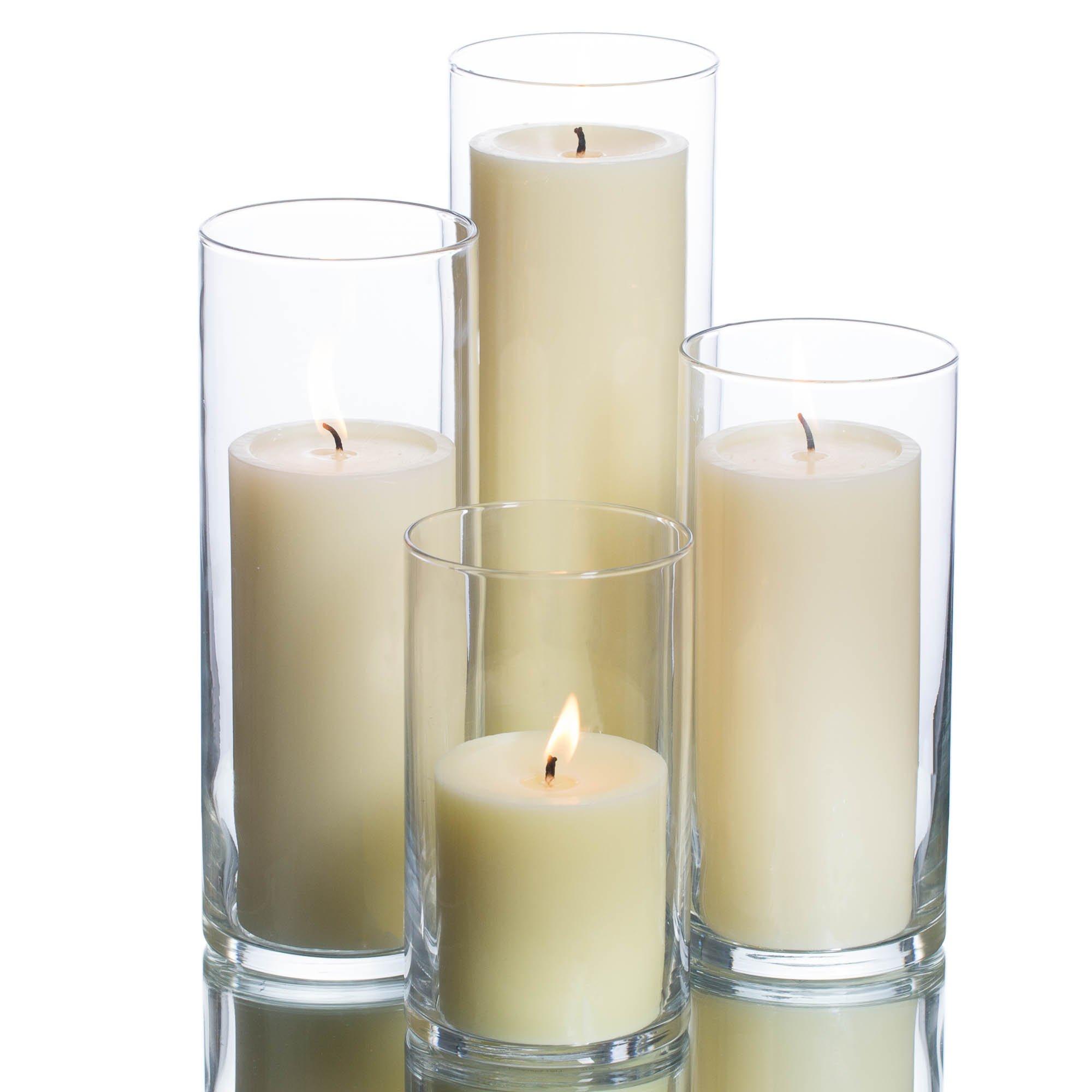 Eastland Cylinder Pillar Holder & Richland Pillar Candles Ivory Set of 48