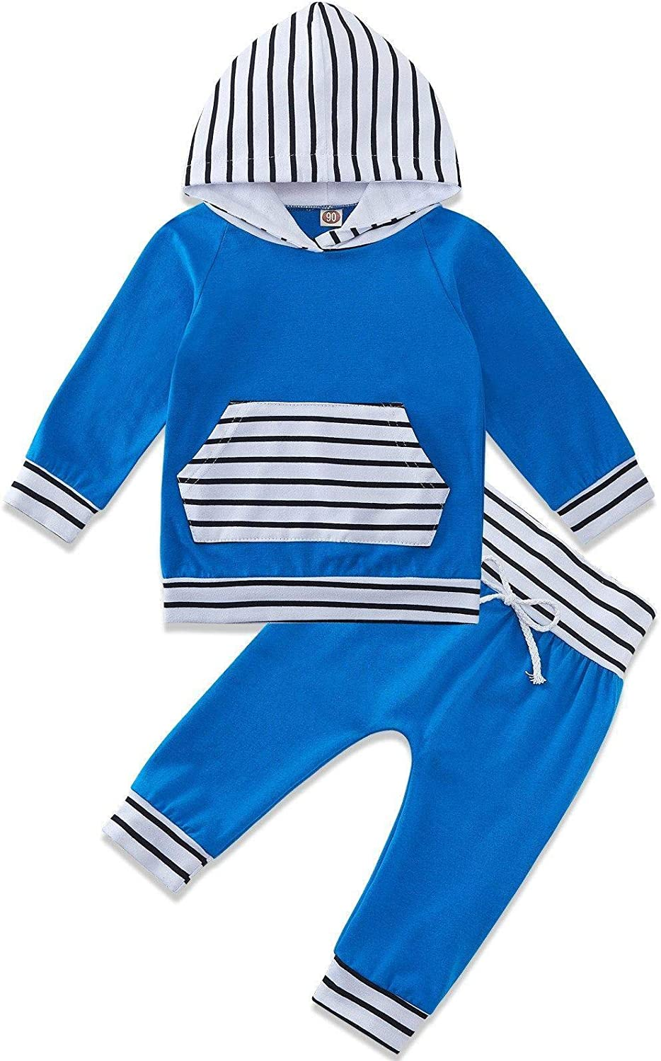 Baby Boys Girls Outfits Set Long Sleeve Hoodie Tops Pants 2pcs Sweatsuit 0-24 Months