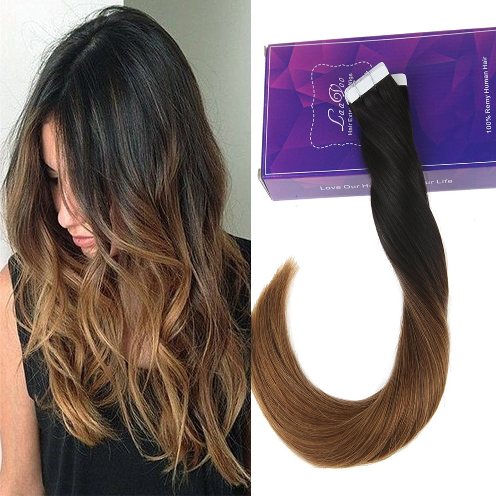 Amazon Laavoo Ombre Natural Black To Dark Brown 1b4 Tape In