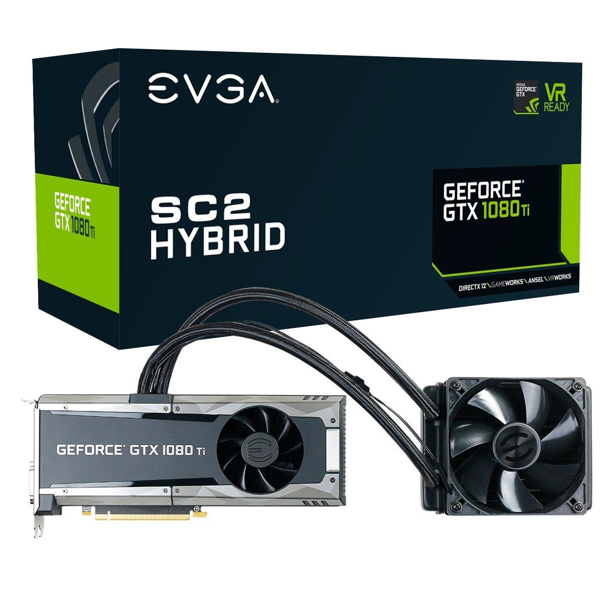 EVGA GeForce GTX 1080 Ti SC2 Hybrid Gaming, 11GB GDDR5X, iCX Technology - 9 Thermal Sensors Graphics Card 11G-P4-6598-KR (Renewed)