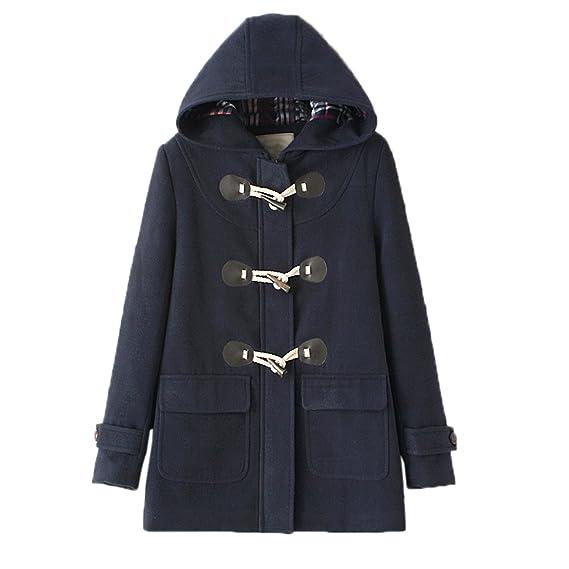 WSLCN Mid Long Manteaux à Capuche Femme Duffle Coat Blouson Bouton Corne Hoodie Veste Décontractée Hiver Chaud en Drap Outwear Coat Automne Slim Fit