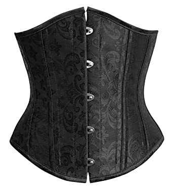 705c5a22346 Charmian Women s 26 Steel Boned Vintage Brocade Underbust Waist Training  Corset Black Small