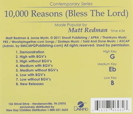 Matt Redman - 10, 000 Reasons (Bless The Lord) [Accompaniment ...