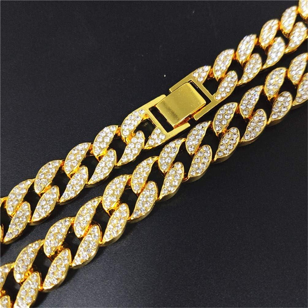 Nobrand Pulsera Helada Hombres Mujeres Hip Hop Pulsera de eslabones cubanos Plata Oro Brillante Brazalete de Diamantes de imitaci/ón con Longitud 78