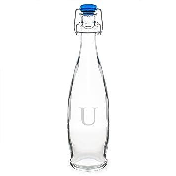 Conceptos de CATHY personalizada Swing Top cristal botella de agua, monograma letras