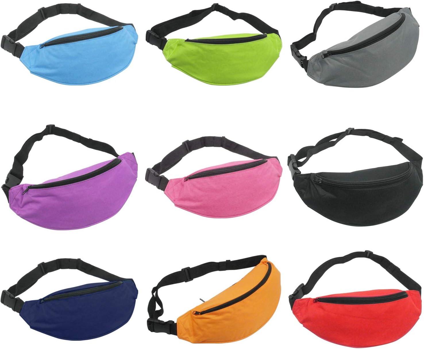 ユニセックスメンズレディースファッションスポーティな多目的2-zipperウエストベルトバッグFanny Pack調節可能なストラップスポーツハイキング旅行パスポート財布( 9ピース混合色)