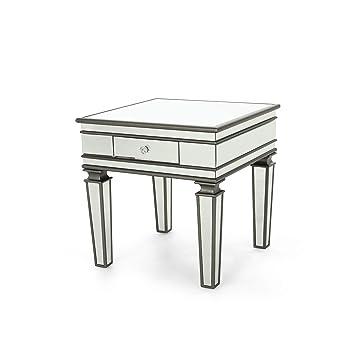 Amazon.com: Annabelle Moderna mesa con espejo con cajón ...