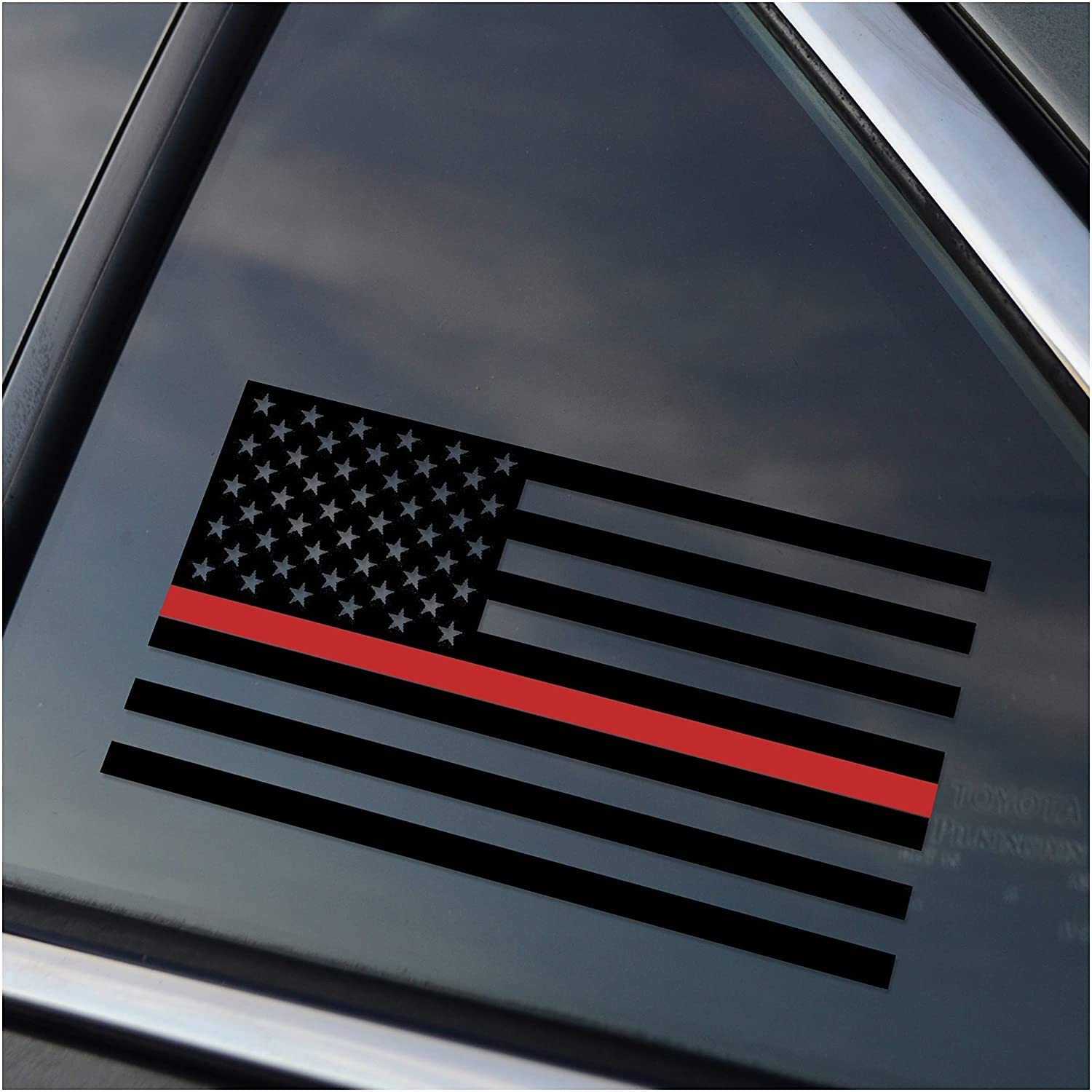 Thin Red Line Firefighter Support Vinyl Car Window Decal Sticker | [6.75 inches x 3.5 inches]""