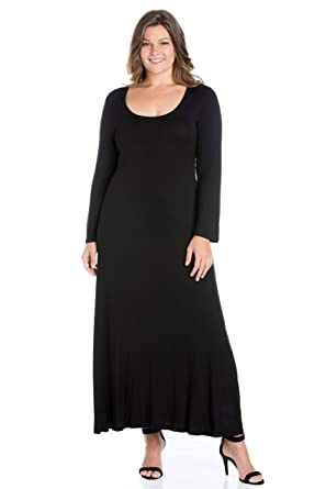 247 Comfort Apparel Plus Size Dresses Long Sleeve Scoop Stretchy