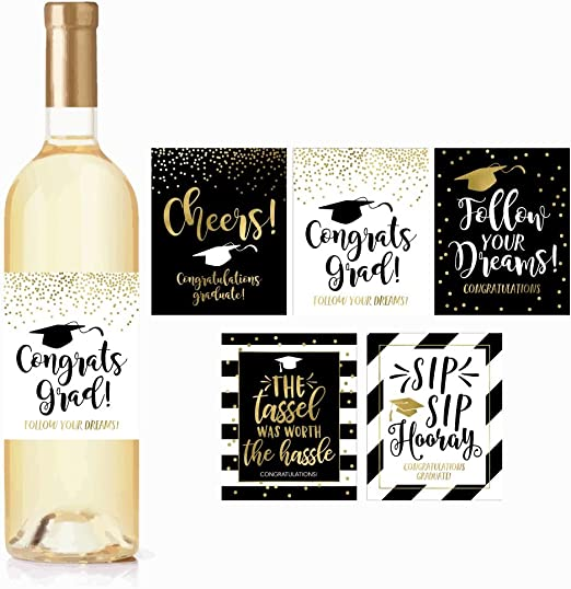 Amazon Com 5 Graduation Gift Wine Labels Or Stickers For Men Or