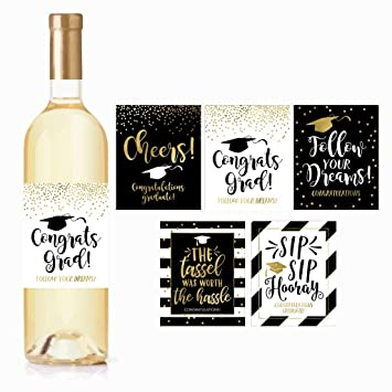 5 etiquetas de regalo de graduación para vino o pegatinas para hombres o mujeres, bonitas