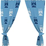 Manchester City FC Official Ready Made Repeat Crest Curtains (One Pair) (Sky Blue)