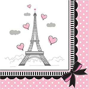 Creative Converting Party in Paris Beverage Napkins, 5 x 5-inch, Pink/Black