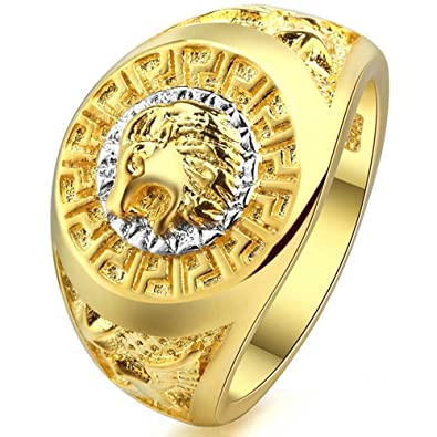 5dad6c40c0 XAHH Yellow Gold Plated Fashion Men Engraved Lion Head Ring Vintage Punk  Biker Band Size 7