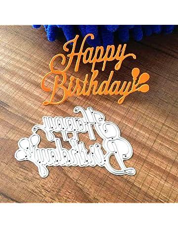 Geyou Dies Metal Cutting Stencils Happy Birthday Words Animal Die Stamps Embossing Stencil for DIY Scrapbooking