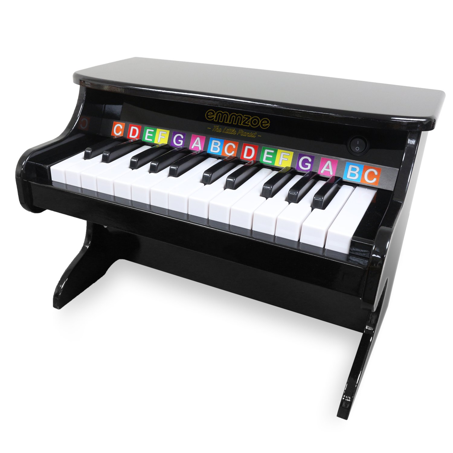 """Emmzoe """"The Little Pianist"""" 25 Key Toddler Electric Piano with Easy to Learn Songbook - Glossy Black Finish"""