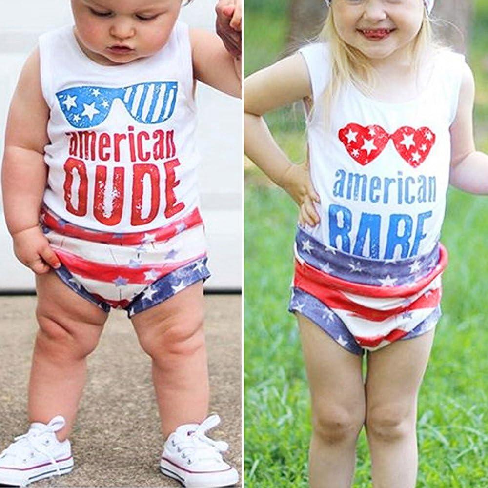 Respctful✿Unisex ler Clothes Set Infant Baby Summer Casual Clothes Set USA Flag Shorts Sleeveless Vest Top