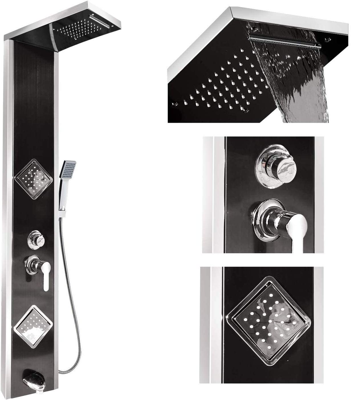 Black Stainless Steel Shower Panel Tower Rain/&Waterfall Massage Body System Jets