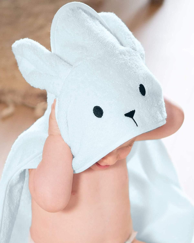 HYGRAD/® Baby Hooded Bath Wrap for Girls and Boys 70x70 cm Baby Towel 0-12 Months Bunny Head Hood Baby Bathtime 100/% Soft Cotton Grey