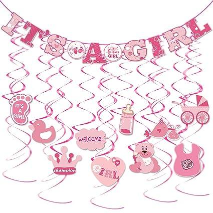 amazon com tinksky 30pcs it s a girl banner girl baby shower dizzy