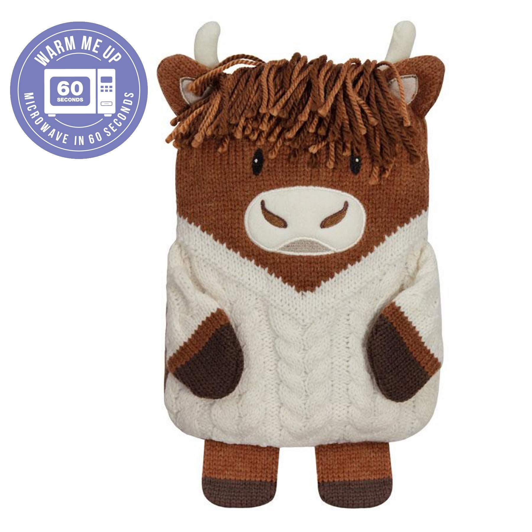 Aroma Home Knitted Hottie Microwavable Highland Cow Heatable Hot Water Bottle by Aroma Home