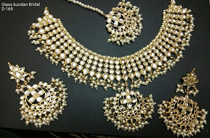 Indian Bollywood Fashion Party wear Jewelry Polki /& Pearls Golden Choker Necklace Earring Set Na n411