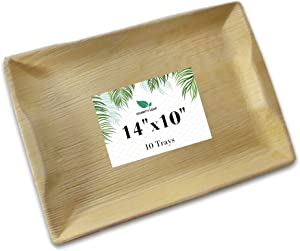 Charity Leaf Disposable Palm Leaf Bamboo Like Serving Tray and Platter | All Natural and Biodegradable | Weddings, Charcuterie Boards, BBQs, and Parties | 14