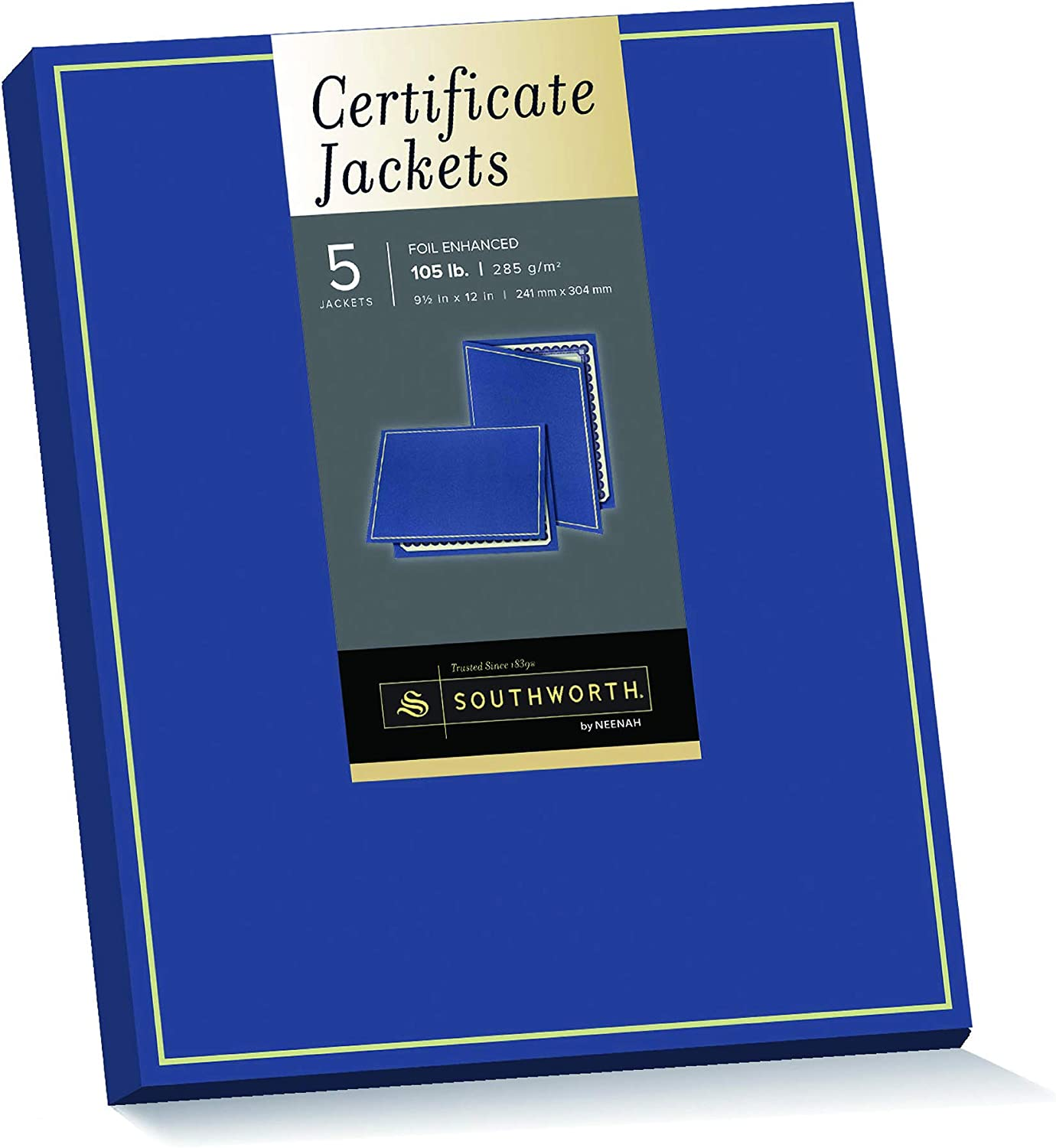 "Southworth Foil Enhanced Certificate Holder, 9.5"" x 12"", 105 lb/285 GSM, Navy, Felt Finish, 5 Count - Packaging May Vary (PF6)"