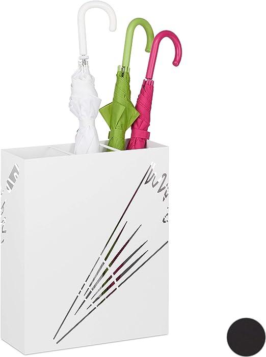 49,5 x 22,5 x 22,5 cm Relaxdays Porta ombrelli Rotondo Disponibile in Colore Nero e Bianco con Le Seguenti Misure HBT