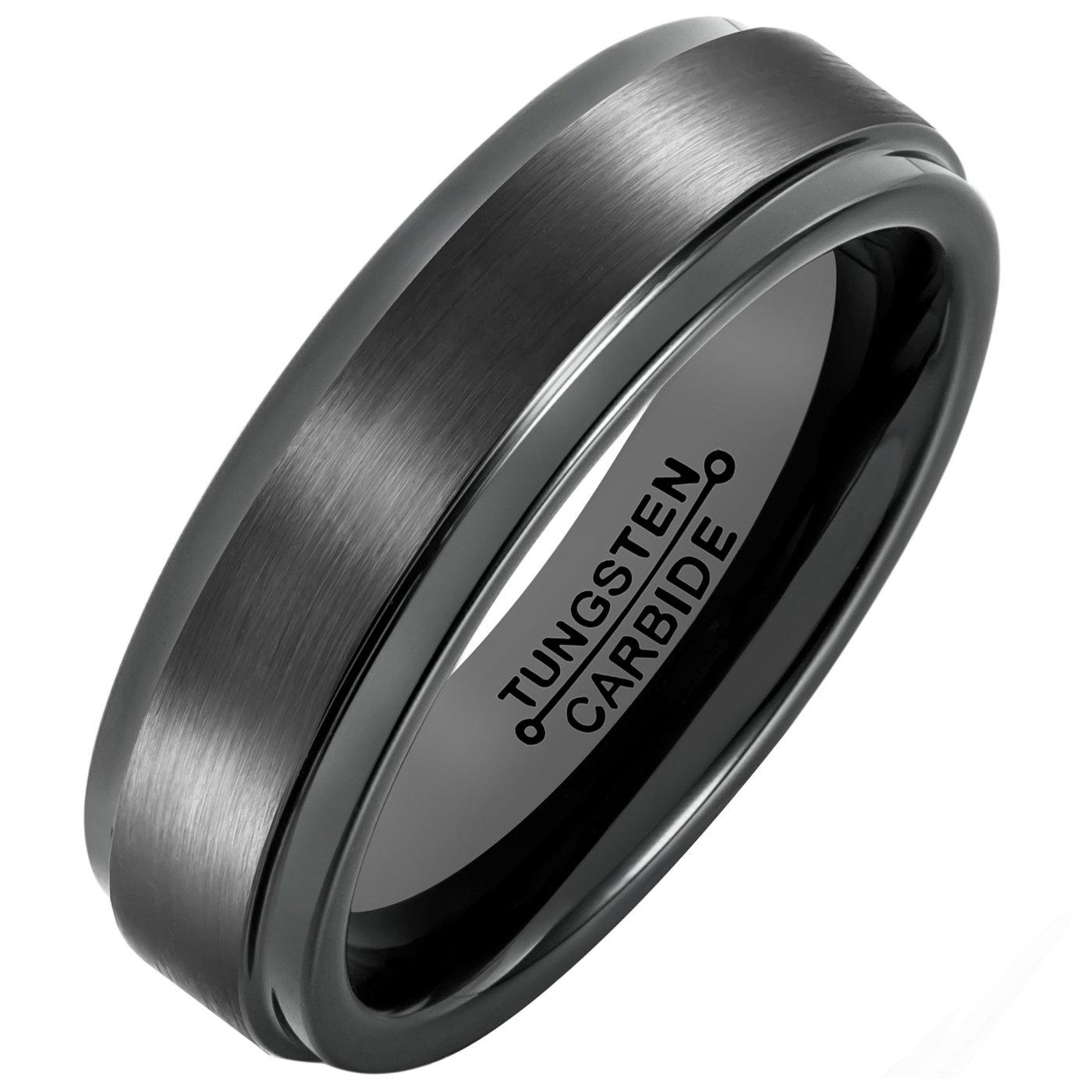 MNH Tungsten Carbide Black Men's  Wedding Band Brushed Matte Finish Polished Edge Engagement Ring, 11
